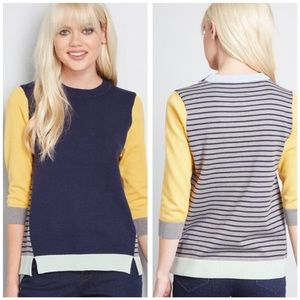 Modcloth Well Placed Pep Colorblock Stripe Sweater